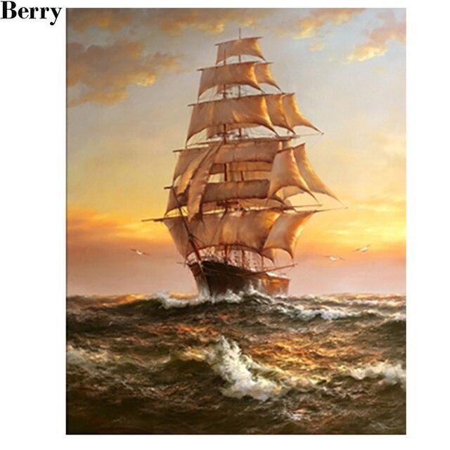 diy 5d diamant peinture marin navire de guerre voile bateau moderne photo d coration diamant. Black Bedroom Furniture Sets. Home Design Ideas