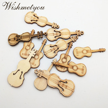 WISHMETYOU 12pcs Guitar Die Cutting Wood Slices Hanging Wall Wooden Decoration Crafts Accessories Diy Pattern Supplies