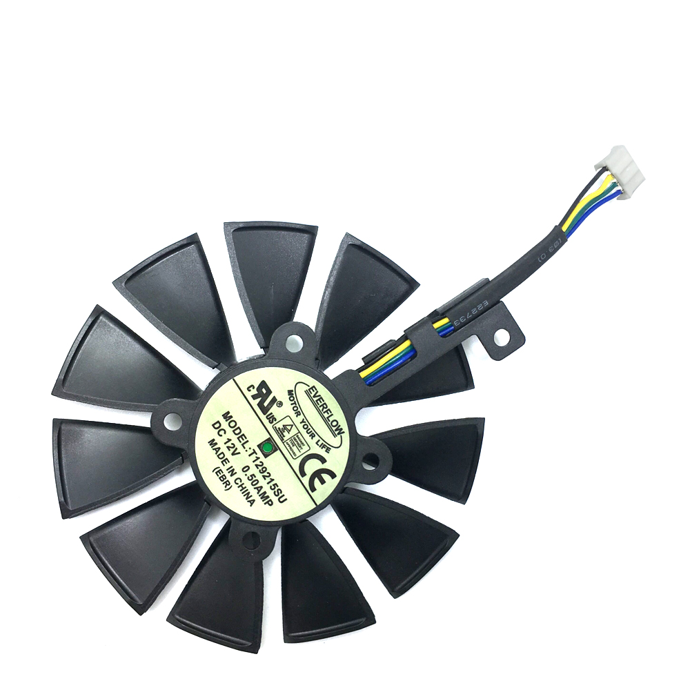 New 87mm T129215SU Fan For ASUS GTX1060 1070 Ti RX 470 570 580 Graphics Card  PC Cooling DC 12V GPU Cooing video card coolerrs-in Laptop Cooling Pads from Computer & Office