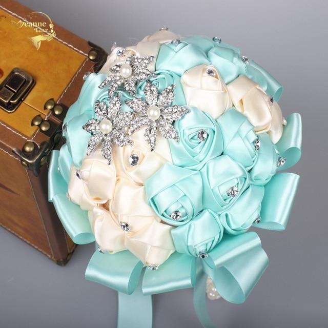 Atemberaubende Hochzeit Blumen Tiffany Blau Kristall Brautjungfer