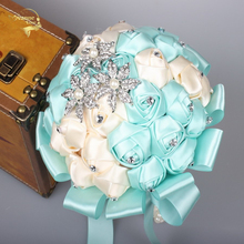 Потрясающие свадебные цветы Тиффани синий Кристалл невесты Букет искусственный букет роз Бюк де Нойва WP020