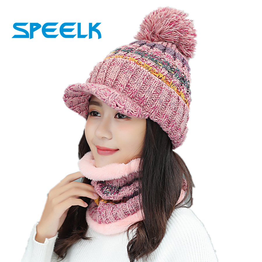 New Winter Velvet Knit Visor Caps Women   Skullies     Beanie   Hat With Bib Female Fashion Mixed Color Knitted Hat Lady Warm Riding Cap