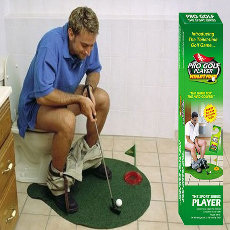 Charming Toilet Golf Putter Set Bathroom Game Mini Golf Set Golf Putting Novelty Set  Play Golf On The Toilet Bathroom Accessories Sets In Bathroom Accessories  Sets ...