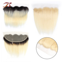 Bobbi Collection 613 Platinum Blonde Ear to Ear Lace Frontal Closure Straight 4x13 Frontal 1B 613 Dark Root Bleach Blonde