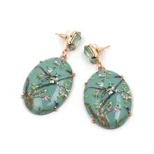 Women Harajuke Drop Earrings Geometric Resin Pendant Wedding Dangle Maxi Jewelry Gift Plant Bird Chinese Style New