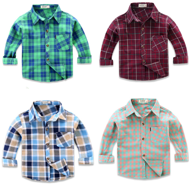 New 2019 Boy's Girl's Shirts Casual Camisa Masculina Girls Blouses Children Kids Cotton Clothes Baby Boy Plaid Long Sleeve Shirt