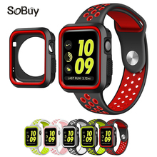 LXsmart strap for pulseira Apple Watch band with protecting shell 42mm/38mm Sport silicon strap for iwatch sequence 3/2/1