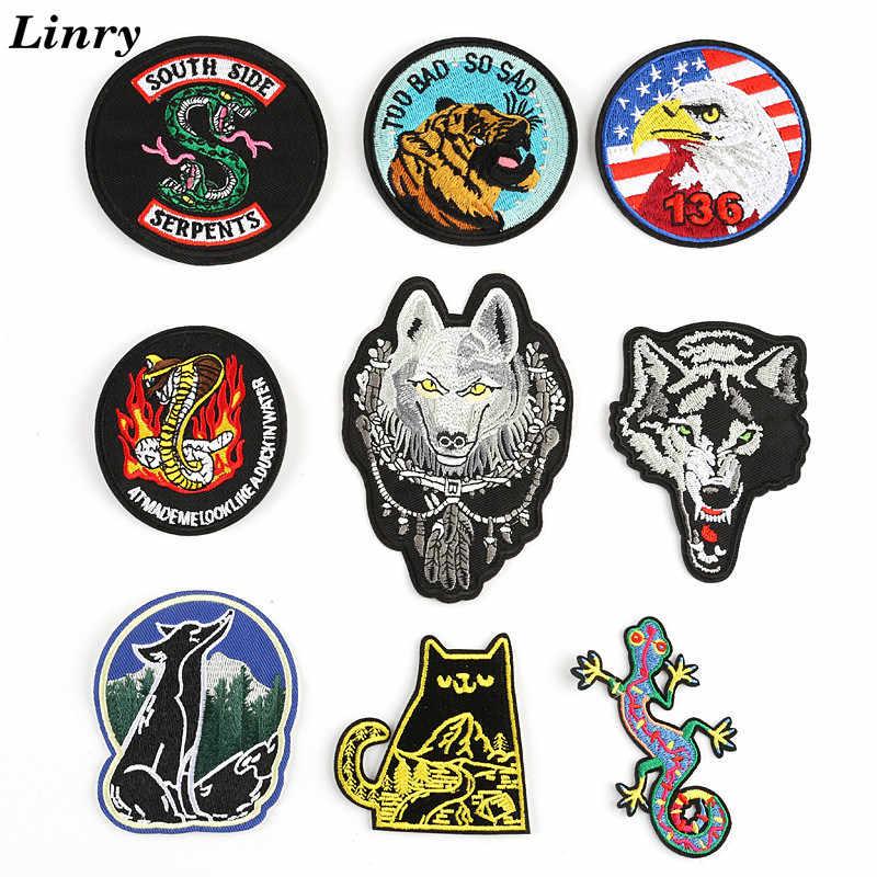 Águia Cobra Lobo Raposa Gato Lagarto Estilo Punk Bordado Patch de Ferro Em Patches Para Bolsas e Bonés Calças Listras Camisas DIY adesivos