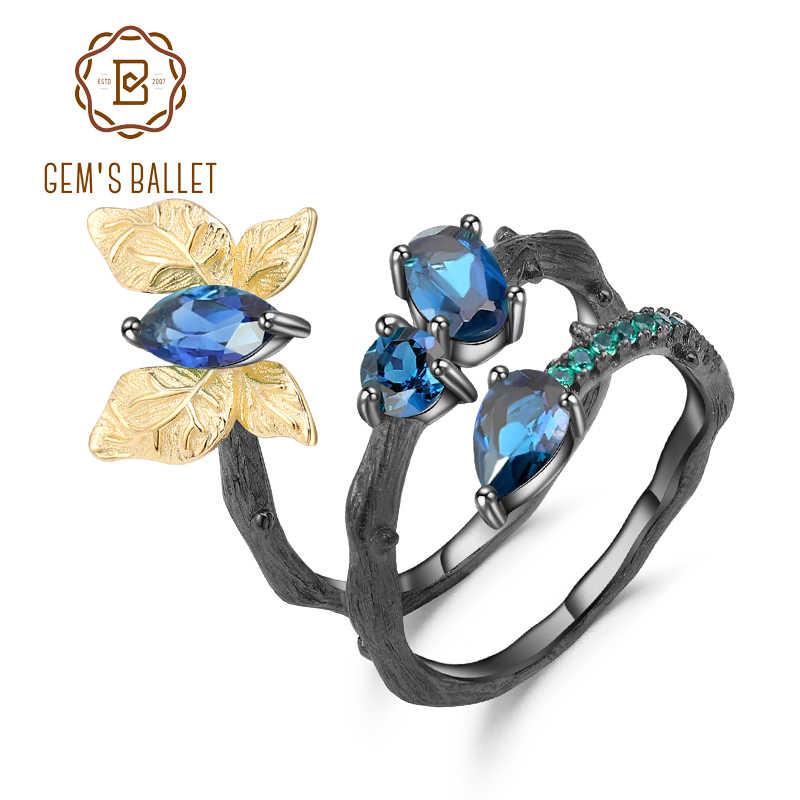 GEM'S בלט 925 סטרלינג כסף בעבודת יד פרפר מתפתל סניף טבעות 1.87Ct טבעי לונדון טופז הכחולה טבעת לנשים Bijoux