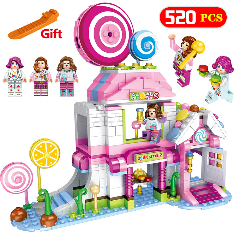 520 Pcs City Girls Friends Seires Sweets Shop Compatible LegoINGLY Dream House Colorful Lollipop Blocks Bricks Toys For Children