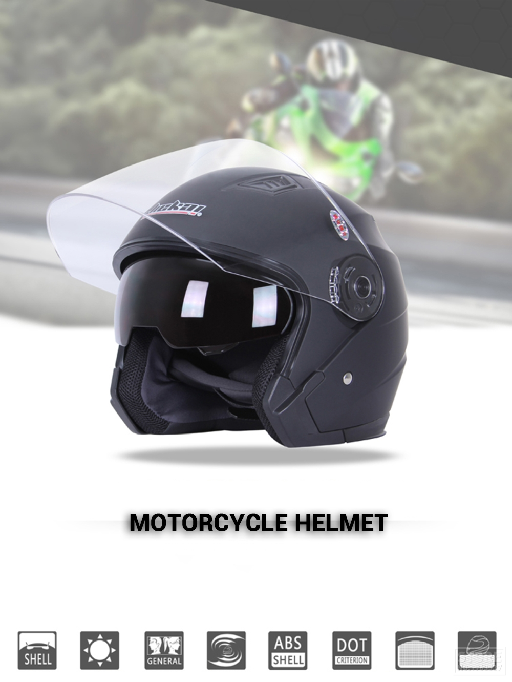 FREE SHIPPING Motorcycle Open Face Helmet Face