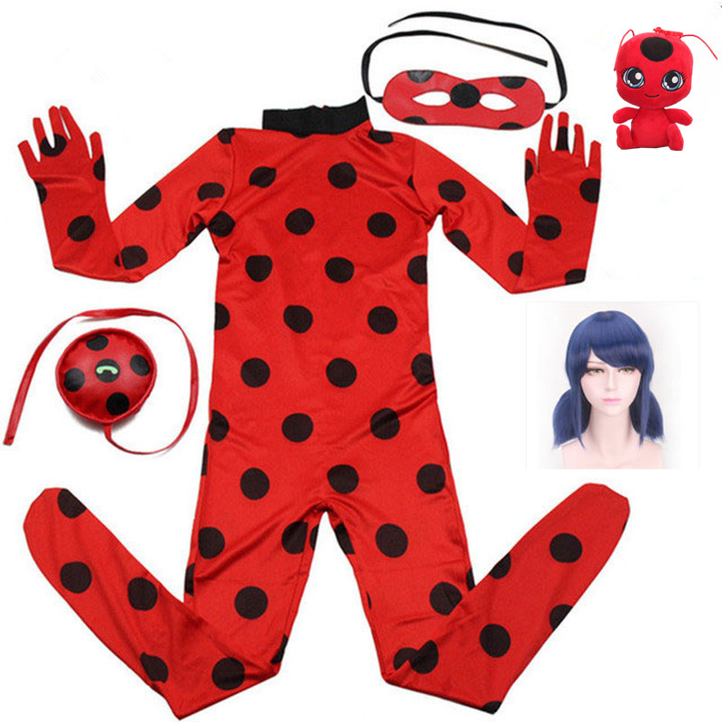 2019 hot Carnival Clothing Lady Bug Cosplay Sets <font><b>Ladybug</b></font> Halloween Christmas Party Custume <font><b>Kids</b></font> Girls Suit Spot 3-10Y image