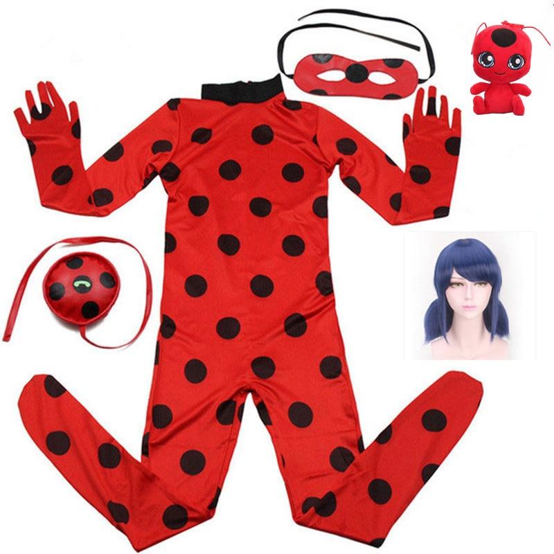 2019 quente roupas de carnaval lady bug cosplay define joaninha halloween festa de natal custume crianças meninas terno ponto 3-10y