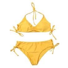 New Fashion Bra Beach Bikini Set Low Waist Double Swimsuit Beachwear Bow 2019 Summer Girls Solid Color Halter