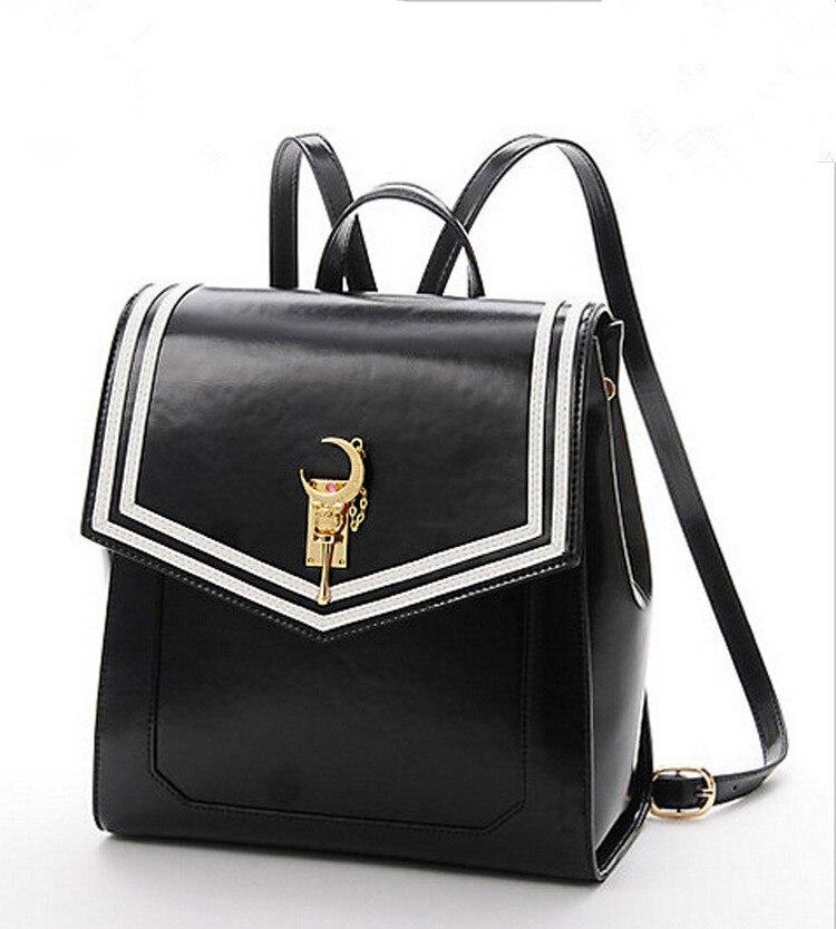 Women's Bags 2018 New Korean Women Backpackr Sailor Moon Backpack Multifunction Black Luna Cat Ladies Backpack Two Use Back Pack Backpacks