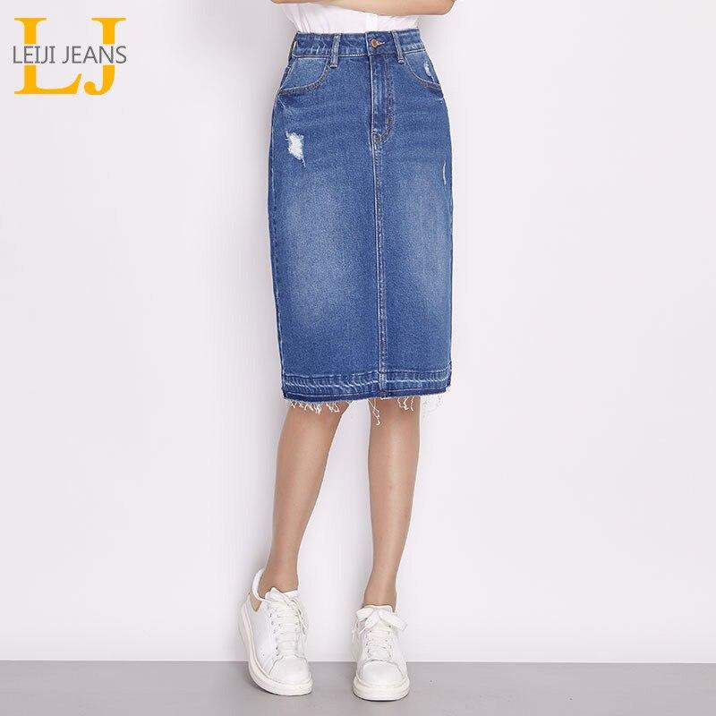 94e07cb6dc9 Купить LEIJIJEANS 2018 Новое поступление плюс размер джинсовая юбка модная  повседневная женская длинная юбка осень Женская юбка для L 6XL два  отличительны.