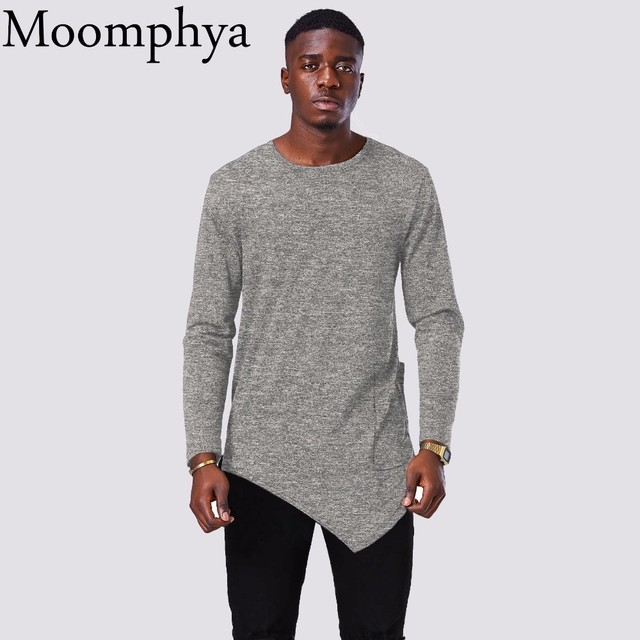 9cca9a95b Moomphya 2018 New Design Long sleeve men t shirt Long Style Asymmetrical  Hem t-shirt men Stretchy t shirt with big side pocket