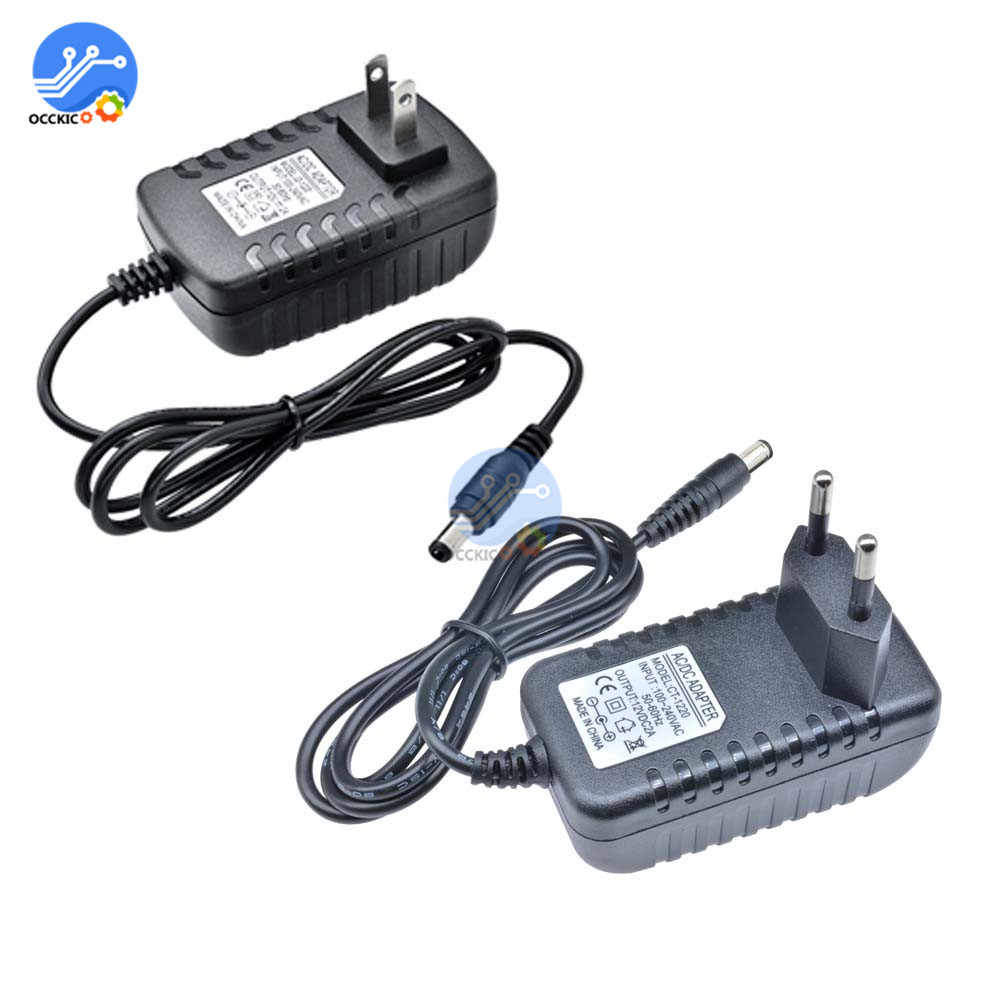 Power Adapter 12 V 2A US/EU Adaptor AC 100-240 V untuk DC 12 V 2A 24 W Charger Supply Universal Switching Inteligente Adapter 5.5X2.1 Mm