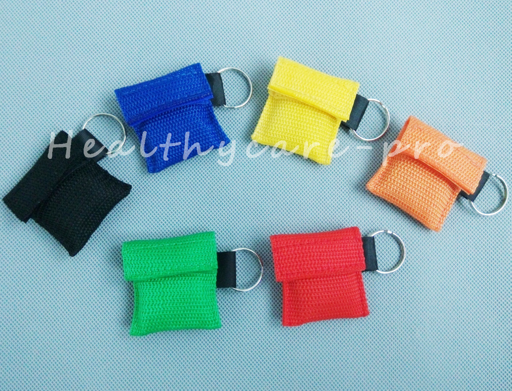 ФОТО 60 PCS /lot CPR MASK WITH KEYCHAIN CPR FACE SHIELD For Cpr/AED 6 COLORS NEW