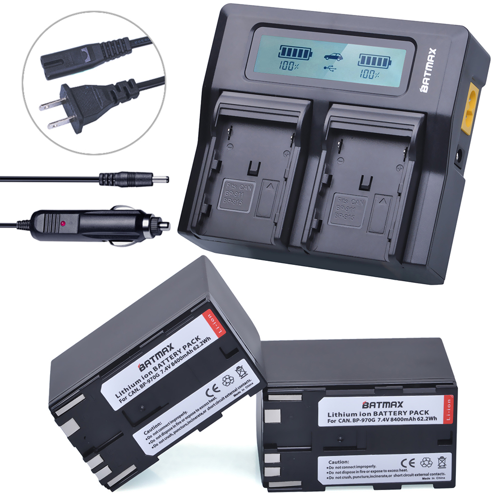 2Pcs 8400mAh BP-970G,BP 970G BP-975 Batteries + LCD Rapid Dual Charger Kits for Canon EOS C100,Mark II, EOS C300, XF100, XF105 canon bp 970g