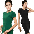Office Work Wear Uniform Designs Women 2015 Summer Style Brand New Formal Ladies Suits Slim Female Skirt Set Plus Size 4XL 3XL