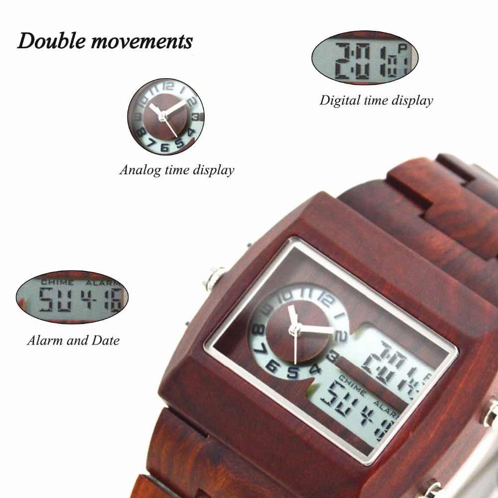BEWELL reloj de madera para hombre electrónico multifunción luminoso gran cuadrado Digital Reloj de madera de sándalo hombre montre bosque homme 021A