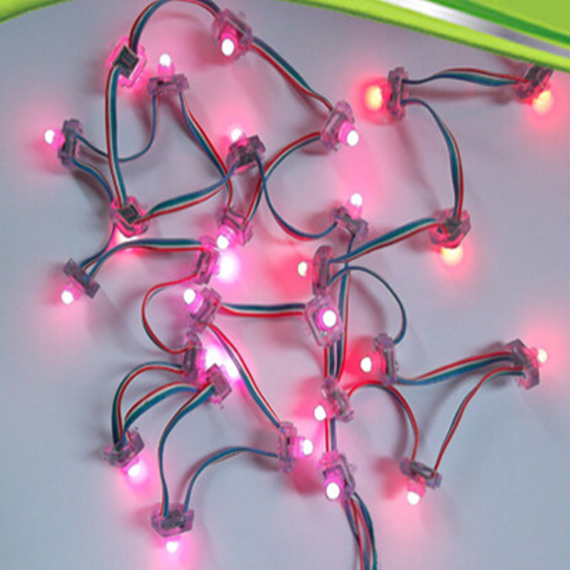 500 pcs/lot WS2811 IC carré LED Module de lumière de Pixel DC5V 12mm rvb couleur LED chaîne de lumière exposée IP68 chaîne étanche