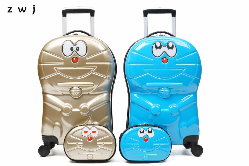 18 inch Doraemon children rolling luggage set 9 inch cartoon Cosmetic bag travel suitcase for kids