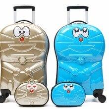 18 дюймов Doraemon детский комплект багажных сумок на колесиках 9 дюймов косметичка с рисунком из мультфильма Дорожный чемодан для детей