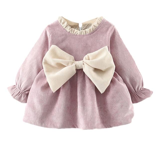 Multitrust Brand Newborn Kids Baby Girl Long Sleeve Bowknot Princess Pink  Purple Party Dress Winter Autumn Cute Clothes  YL 3d59c8e06f3b