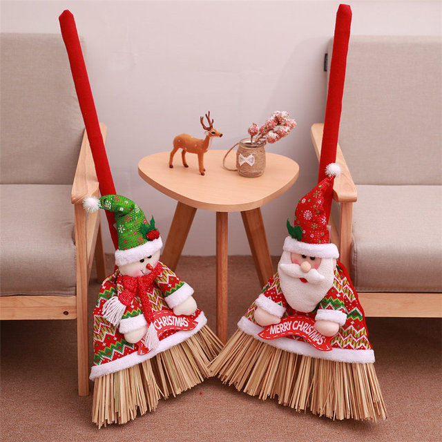 new year christmas festival broom set decoration supplies xmas festival broom set santa broom cover dropshipping - Christmas Broom Decoration