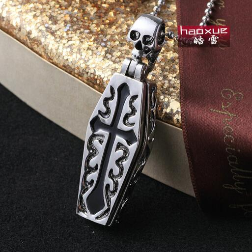 1pc Fashion Men s Jewelry Mummy Coffin Skull 316L Stainless Steel Necklaces Cool Skeleton Pendant