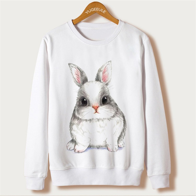 Animal Rabbit Print Sweatshirts Full Sleeve O-Neck White Kawaii Hoodies New Fashion Sweatshirts Autumn Harajuku Loose Pullovers 14