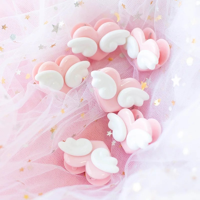 Climemo 5Pcs/lot Cute Girl Heart Photo Clip, Loving Wing, Convenient, Small Cherry Animation Soft Girl Pink Office Accessories