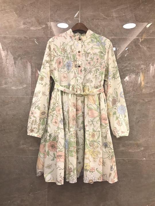 Verano 2019 nuevas mujeres pequeñas de cuello redondo bordado de color a juego sujetador recibido cintura de algodón de manga larga vestido 620-in Vestidos from Ropa de mujer    1