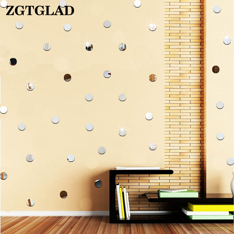 ZGTGLAD 100pcs/lot 2cm 3D Diy Acrylic Mirror Wall Sticker Heart/Round Shape Stickers Decal Mosaic Mirror Livingroom Home Decor