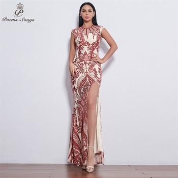 Poems Songs New Sexy Style Evening dresses long vestido de festa longo prom dress robe de soiree evening gowns vestidos elegante