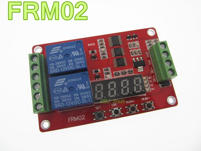 Envío libre módulo Lcd FRM02 2 canales Módulo de Relé Multifuncional/Loop Delay/temporizador/autobloqueo/5 V, 12 V 24 V