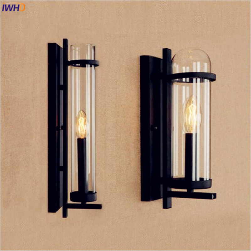 IWHD Glass Antique Vintage Wall Lamp Bedroom Home Lighting Loft Industrial Retro Wall Lights LED Edison Sconce Wandlamp free shipping brass finished e27 industrial edison wall lamp antique copper vintage beside lighting ac90 250v for bedroom