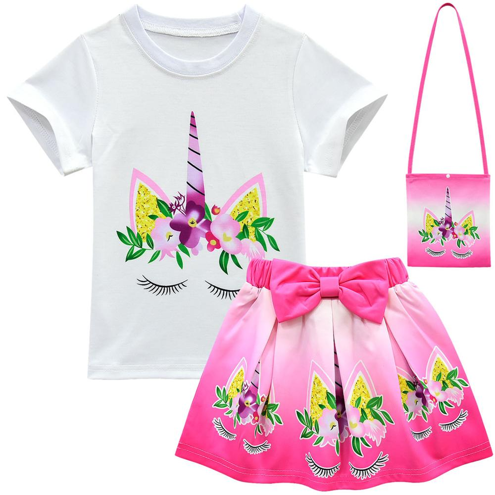 Unicorn Clothes Baby Girls Dresses For Party And Wedding Teens Fashion Kids Summer Clothes Sets Toddler Outfits Childrens Shorts 2
