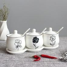 Северная Европа простота стиль сахарница домашняя кухня 3 в 1 Набор керамическая соль приправа горшок банки с 3 ложками