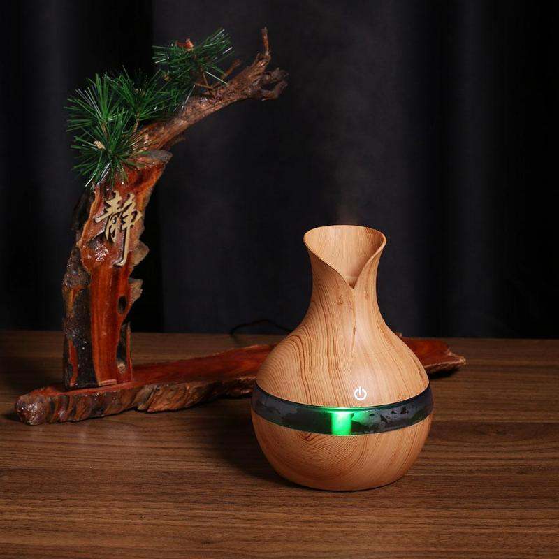 200ml Ultrasonic Electric Aromatherapy Humidifier Mini Wood USB Essential oil Aromatherapy air Diffuser with 7Color LED Light