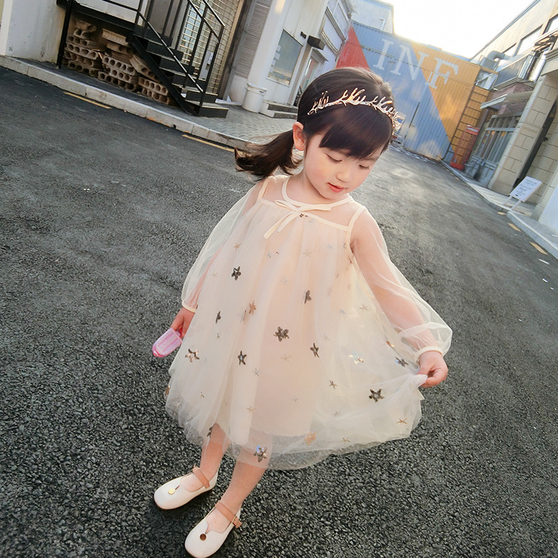 Girl Dress Children Princess Clothing Baby Girl Star Sequin Mesh Dress Kids Cute Party Dress Kids Dresses for Girl Baby Clothes