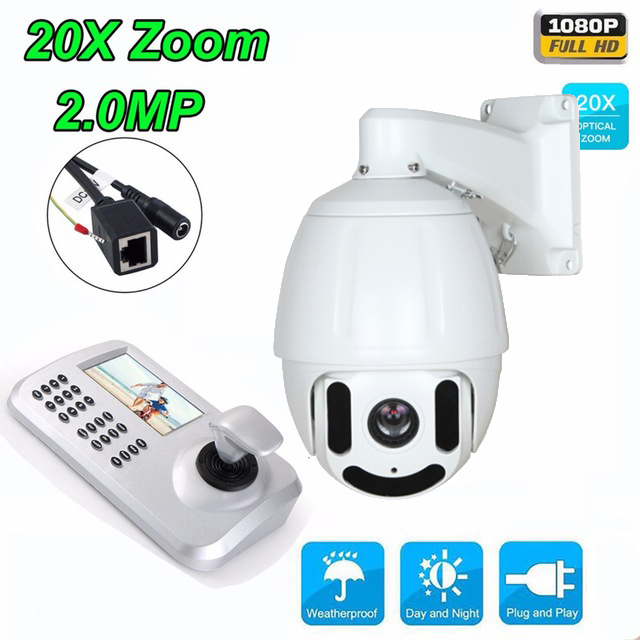 20x Optical Zoom HD 1080P 2MP Medium Speed dome Camera CCTV PTZ IP Camera Outdoor + Keyboard Controller onvif hd 2 0mp 20x optical zoom 100m ir distance 1080p ptz cctv wired camera speed dome camera with auto wiper
