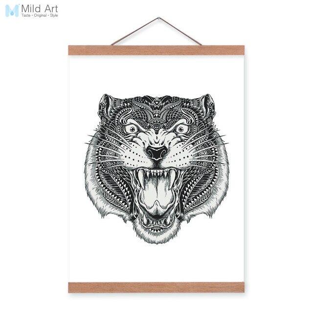 Modern Tiger Black White Animal Head Portrait Totem Wood Framed ...