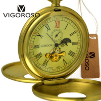 Imperial Pure Copper Antique 1882 Vintage Mechanical Old Pocket Watch Hand Wind 12 24 Hour Moon