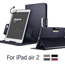 Case for iPad Air 2 for iPad 6, ESR Business PU Leather Auto Wake/Sleep Folio Stand 360 Rotating Case for iPad Air 2 for iPad 6