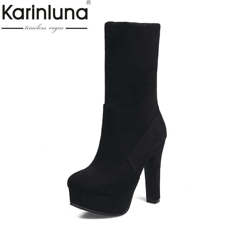 f0b798fda00 KARINLUNA 2018 плюс Размеры 33-43 слипоны женская обувь на платформе  женские вечерние сапоги