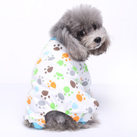 Cute Duck Dog Pajamas Dog Clothes Dog Jumpsuit Pet Cat Pjs Cotton Knitted Pajamas Clothing Four