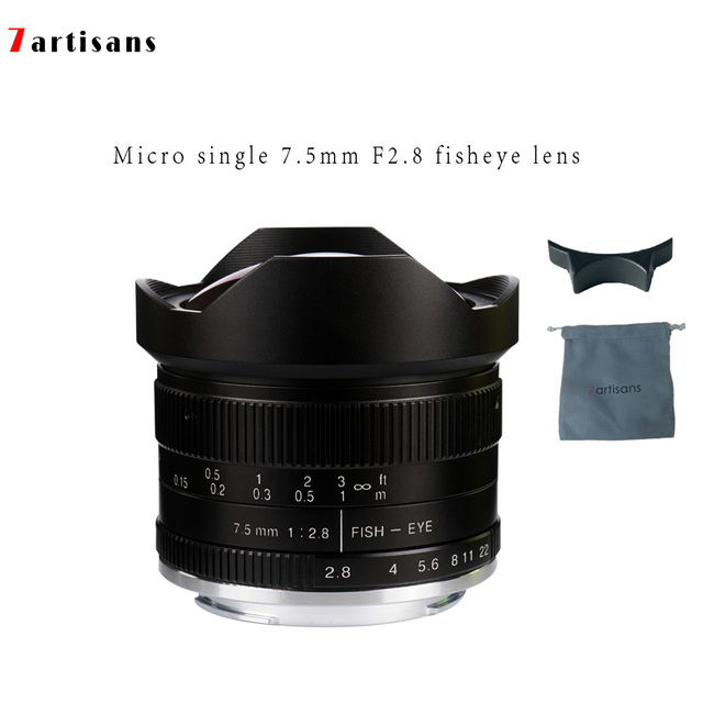 7 Artisans 75mmF28 Super Wide Angle Fisheye Micro Single Lens For E Mount Canon EOS M FX M4 3 M1